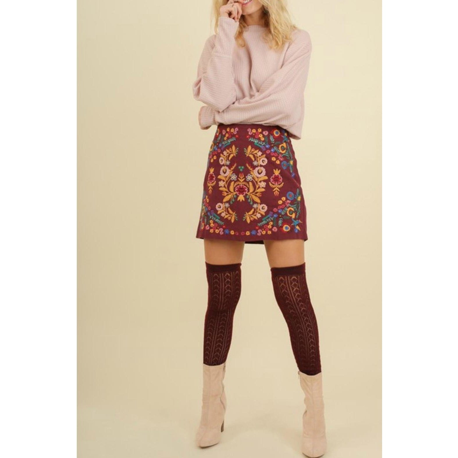 Ivy embroidered skirt