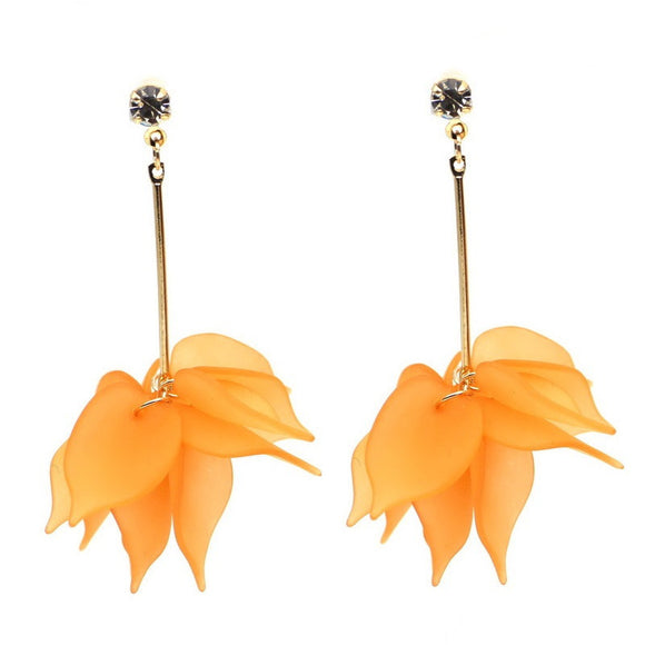 Orange Flower Elegant Drop Earrings - SaveOnn Cart