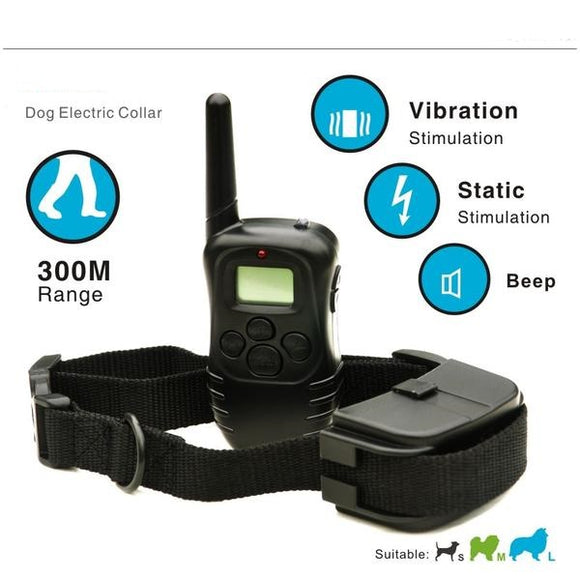 300 Yards Dog Training Shock Collar With Rechargeable and Waterproof LCD Screen