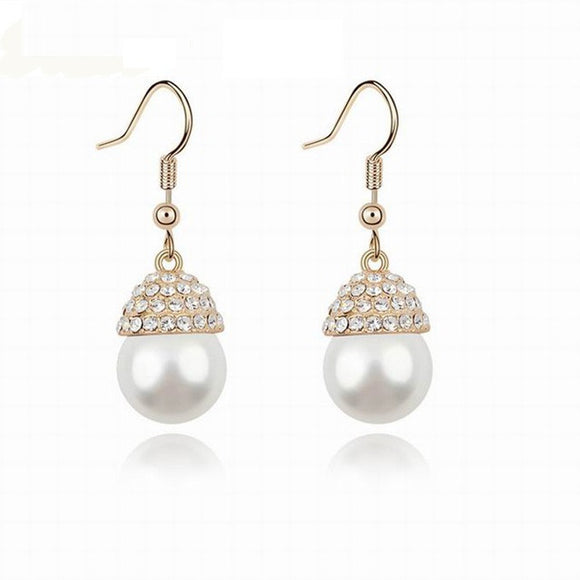 Classic Gold Plated Pearl Rhinestone Earrings - SaveOnn Cart