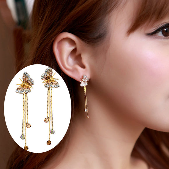 Teen Butterfly Tassel Dangle Drop Earrings - SaveOnn Cart
