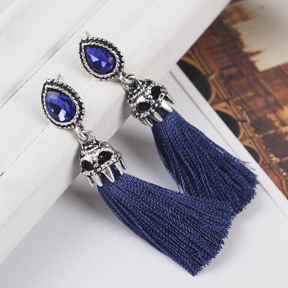 Vintage Rhinestone Embellished Tassel Earrings - SaveOnn Cart