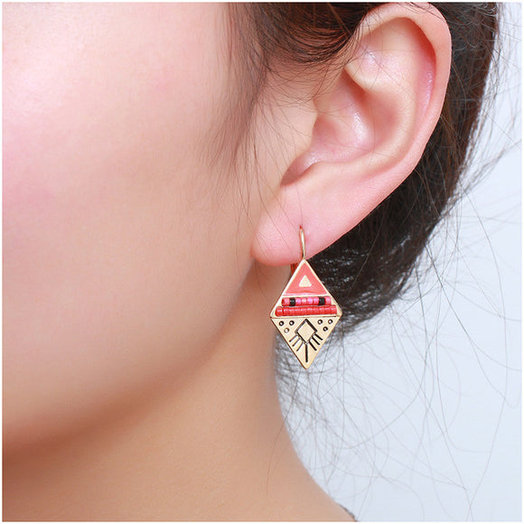 Vintage Handmade Ethnic Rhinestone Earrings - SaveOnn Cart