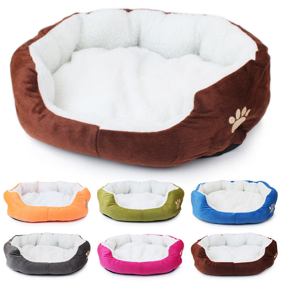Cute Paw Print Soft Plush Dogs & Cats Bed