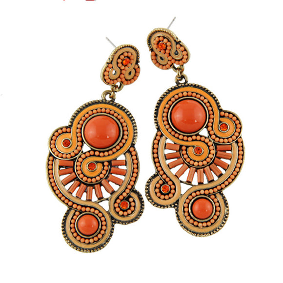 Vintage Ethnic Bead Pendant Earrings - SaveOnn Cart