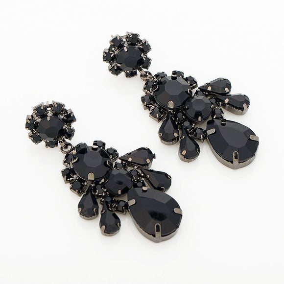 Classic Black Water Rhinestone Drop Earrings - SaveOnn Cart