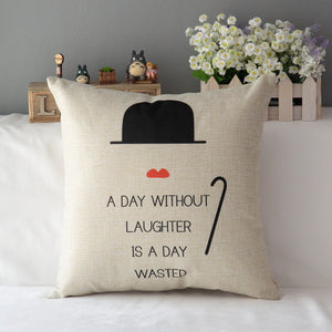 "'A Day Without Laughter 18"" inch  Square  Cotton Linen Cushion Sofa Decorative Throw Pillow - SaveOnn Cart"
