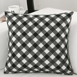"Plaid Stripe 18"" inch Square Cotton Linen Decorative Throw Pillow Case - SaveOnn Cart"