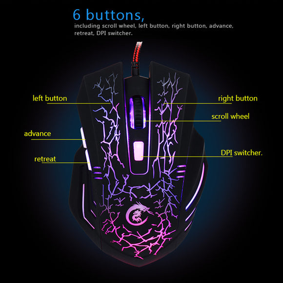 Wired Ergonomic Silent Click Optical Backlight Gaming Mouse For Tablet Laptop PC