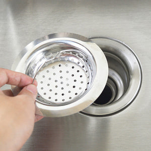 Kitchen Sink Strainer Stainless Steel Drainer With Waste Stopper Filter 11*2.8*7.8