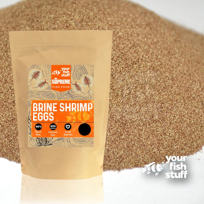 Your Fish Stuff YFS 90% Hatch Rate Brine Shrimp Eggs from the Great Salt Lake in Utah.