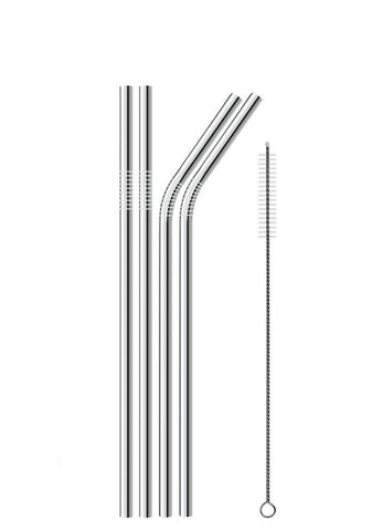 Stainless Steel Drinking Straws, Set of 4 (Cleaning Brush Included)