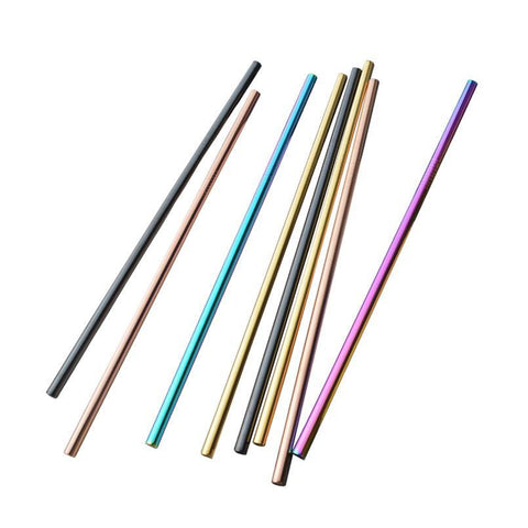 Colorful Stainless Steel Straws (2 pack) with Cleaner Brush