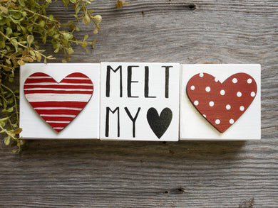Melt My Heart - Striped Heart 3D Block - Polka Dot 3D Heart - Shelf Sitter - Valentine's Day