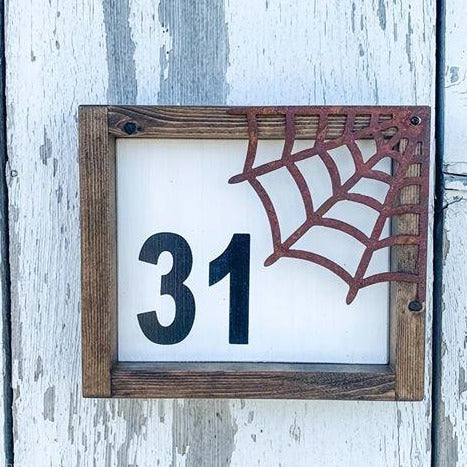 31 Framed Metal Spiderweb - Fall Sign - Halloween Decor - Metal Autumn Wall Hanging