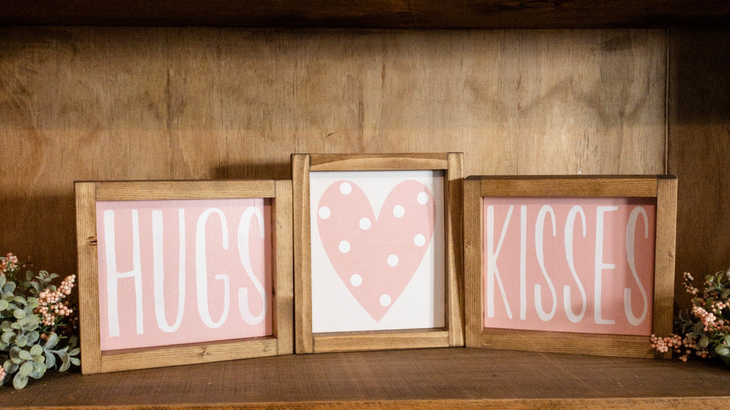 Set of Three Valentine's Day Framed Signs - HUGS - Heart with Polka Dots - KISSES