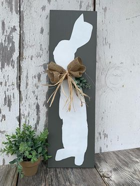 Gray and White Bunny with burlap eucalyptus and raffia bow