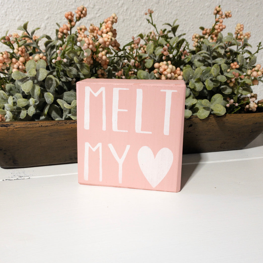Valentine's Day Home Decor - Shelf Sitter - Block - MELT MY {heart}