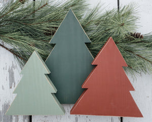 Tree Trio - Christmas Trees - Shelf Sitter - Seasonal Holiday Home Decor - Rustic Wood Christmas Tree Signs - Set of 3 - Farmhouse Home Holiday Decor - Stand Up Shelf Sitte