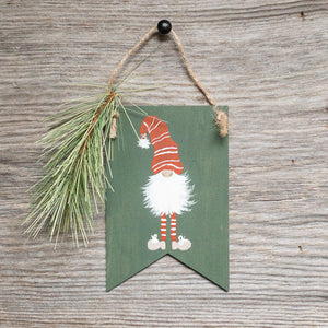 Green - Gnome Ornament - Hand Painted - Pendants - Pine - Christmas Decor - Seasonal Winter Home Decor - Gift Tags