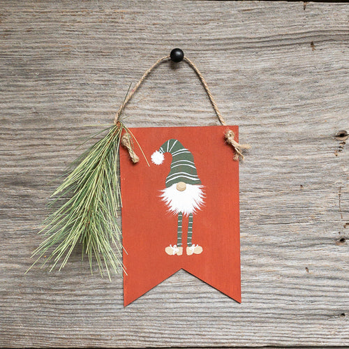 Red - Gnome Ornament - Hand Painted - Pendants - Pine - Christmas Decor - Seasonal Winter Home Decor - Gift Tags