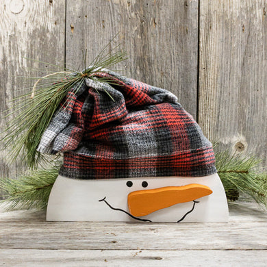 Snowman Head - Fabric Hat - Shelf Sitter - Farmhouse Winter Decor - Seasonal Snowman Home Accents - 3D