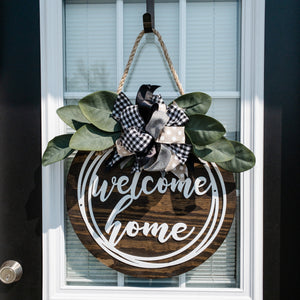 Welcome Home Door Hanger - Metal - Magnolia Leaves - Bow