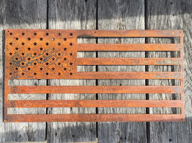 Rusted Metal American Flag