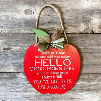 Apple Door Hanger - Teacher - Classroom - Back to School - Hand painted
