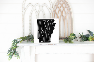 Arkansas Wood State Sign - solid - 11.25""
