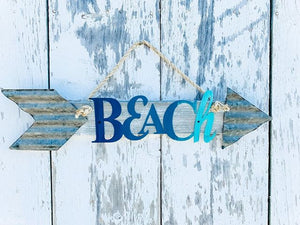 Beach Pool Lake Arrow - Corrugated Metal - Steel Word Art - Summer Home Decor - Directional Signs