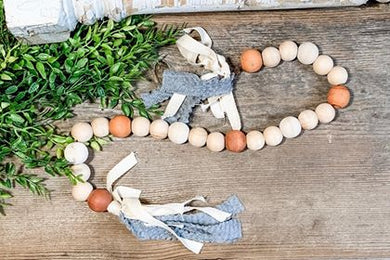 Wood Bead Garland - Farmhouse Rustic Tabletop Accessories - Tiered Tray Accent Decor