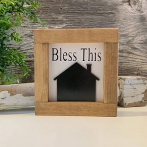 Bless This - Metal House Framed Sign
