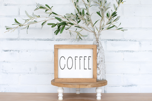 Coffee Wood Sign - framed solid - 8.75""