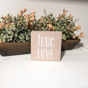 Valentine's Day Home Decor - Shelf Sitter - Block - TRUE LOVE