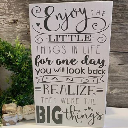 Enjoy the Little Things - Farmhouse Sign - White