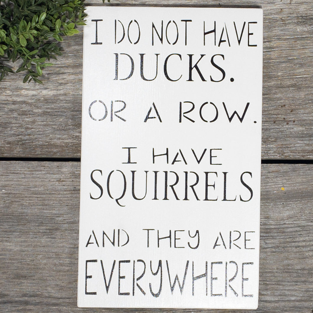 I Don't Have Ducks Or A Row - I Have Squirrels And They Are Everywhere - Sign