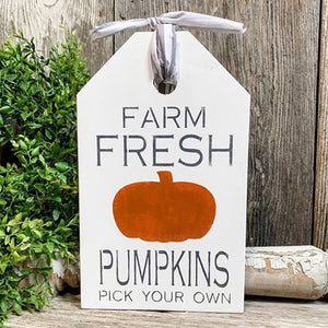Large Farmhouse Tag - Seasonal Fall Decor - Pumpkin Home Accents