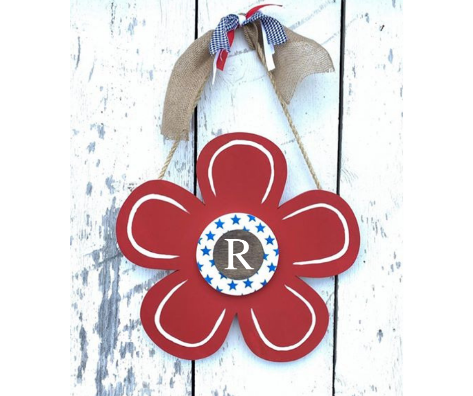 Monogram 3D Flower Door Hanger - Fourth of July Decor