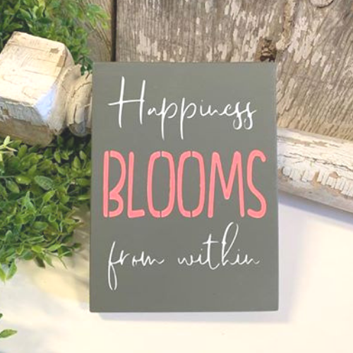 Happiness Blooms from Within - Grey