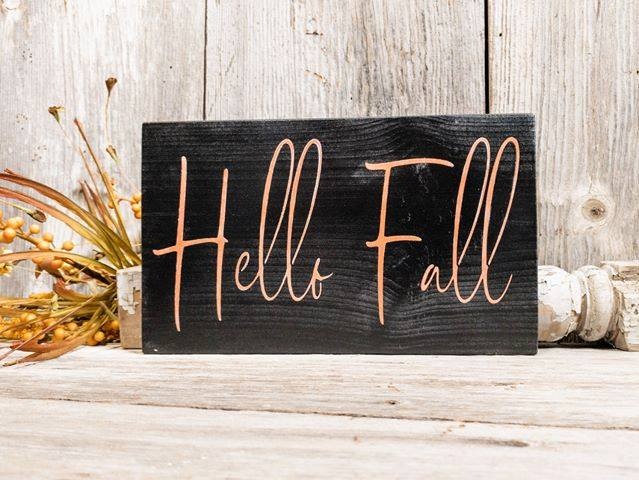 Hello Fall Wooden Sign - Autumn Wall Hanging - Rustic Seasonal Farmhouse Home Decor