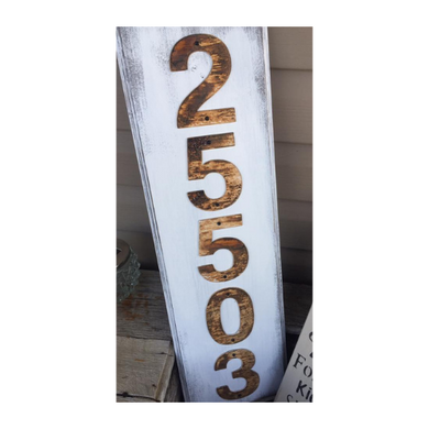 House Number - Address Sign - Rusty White Metal House Number