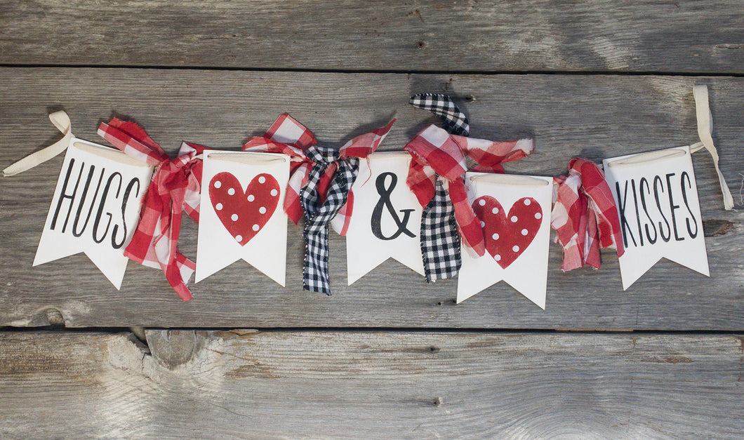Hugs and Kisses Banner - Valentine's Day - Garland