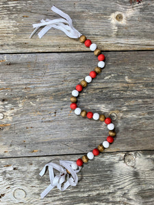 Farmhouse Red White Neutral Bead Garland - Christmas Holiday Seasonal Home Decor