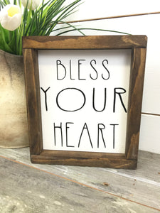 Bless Your Heart Framed Wood Sign