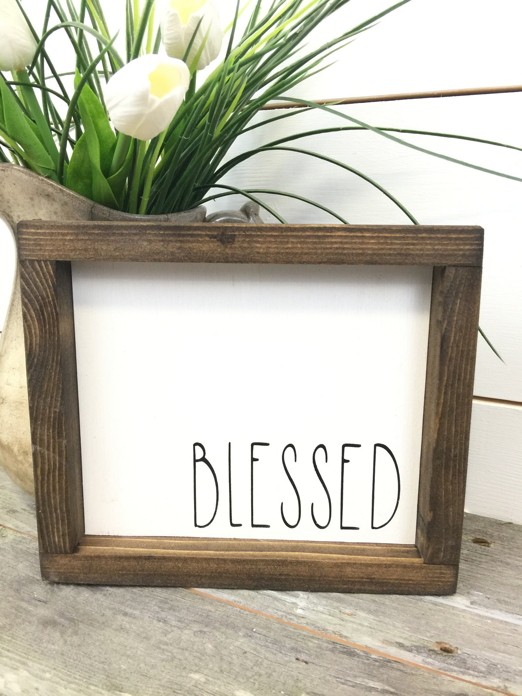 Blessed White Framed Wood Sign