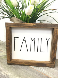 White Family Framed Wood Sign