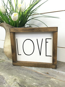 White Love Framed Wood Sign