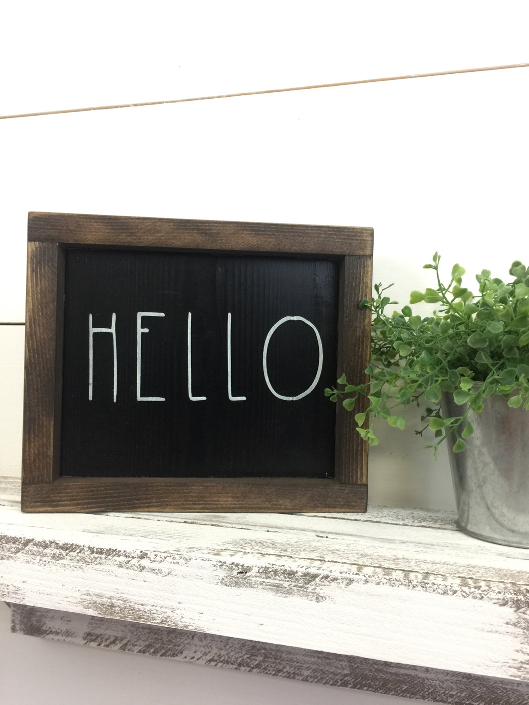 Hello Framed Wood Sign