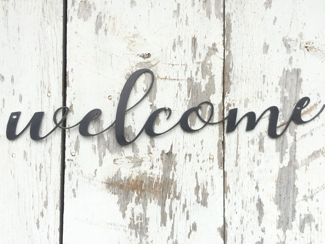 Welcome Metal Word- Wall Art